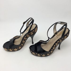 YSL t strap black patent leather heels